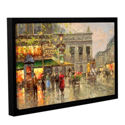 Brushstone Vintage Parisian Street Gallery WrappedFloater-Framed Canvas Wall Art