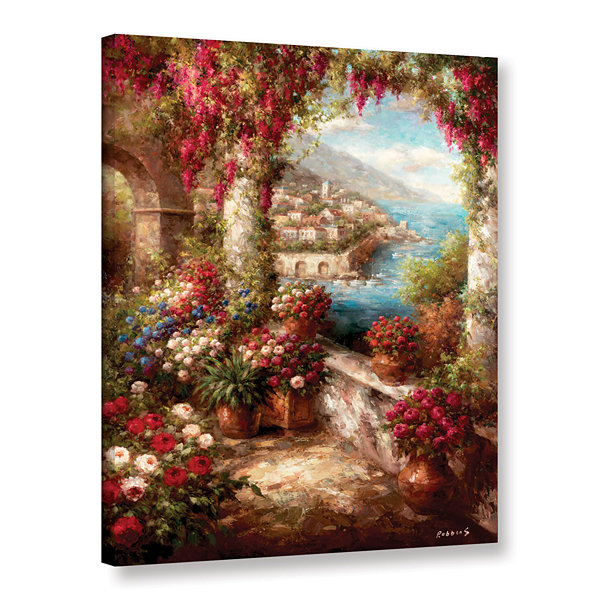 Brushstone Mediterranean Coast Terrace Gallery Wrapped Canvas Wall Art