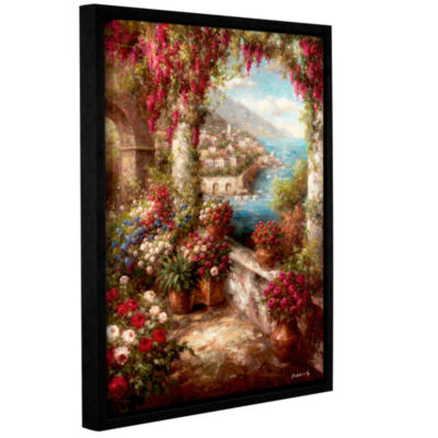 Brushstone Mediterranean Coast Terrace Gallery Wrapped Floater-Framed Canvas Wall Art