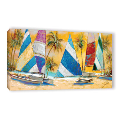 Brushstone Grand Bay Sails Gallery Wrapped CanvasWall Art