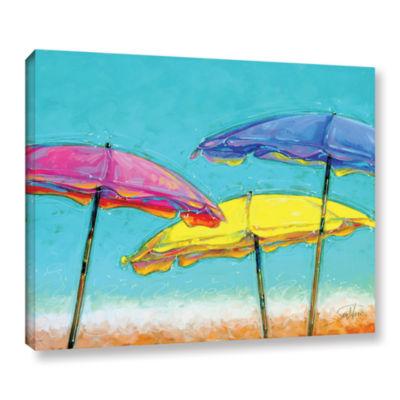 Brushstone Vanilla Brellas Gallery Wrapped Floater-Framed Canvas Wall Art