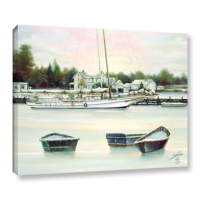 Brushstone Winter Harbor Gallery Wrapped Floater-Framed Canvas Wall Art