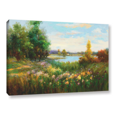 Brushstone Spring Flowers And Vista Gallery Wrapped Canvas Wall Art