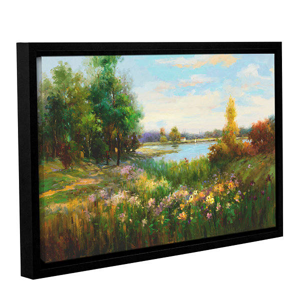 Brushstone Spring Flowers And Vista Gallery Wrapped Floater-Framed Canvas Wall Art