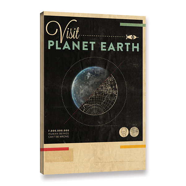 Brushstone Visit Planet Earth Gallery Wrapped Canvas Wall Art