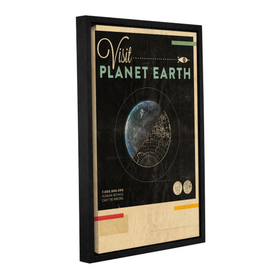 Brushstone Visit Planet Earth Gallery Wrapped Floater-Framed Canvas Wall Art