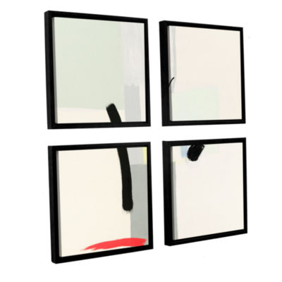 Brushstone Interruptions 4-pc. Square Floater Framed Canvas Wall Art