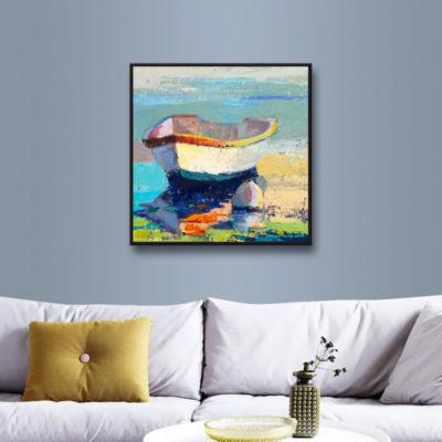 Brushstone Bottle Green Boat Gallery Wrapped Floater-Framed Canvas Wall Art