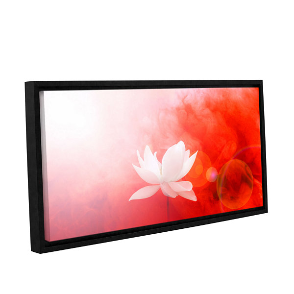Brushstone Lotus In Flames Gallery Wrapped Floater-Framed Canvas Wall Art