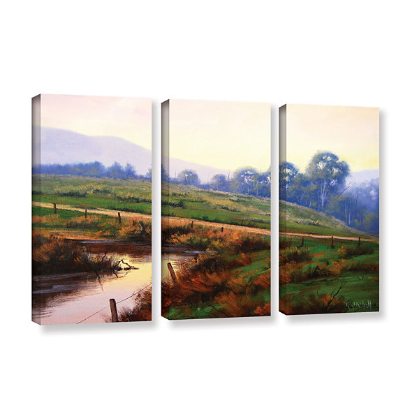 Brushstone Afternoon Glow 3-pc. Gallery Wrapped Canvas Wall Art