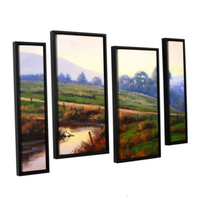 Brushstone Afternoon Glow 4-pc. Floater Framed Staggered Canvas Wall Art