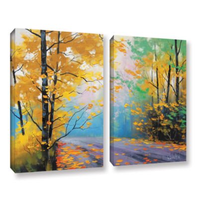 Brushstone Misty Autumn Day 2-pc. Gallery WrappedCanvas Wall Art