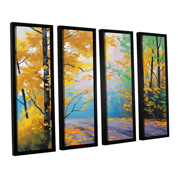 Brushstone Misty Autumn Day 4-pc. Floater Framed Canvas Wall Art