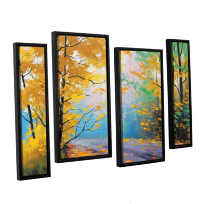 Brushstone Misty Autumn Day 4-pc. Floater Framed Staggered Canvas Wall Art
