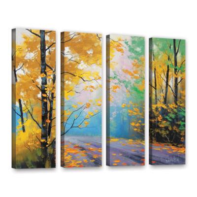 Brushstone Misty Autumn Day 4-pc. Gallery WrappedCanvas Wall Art