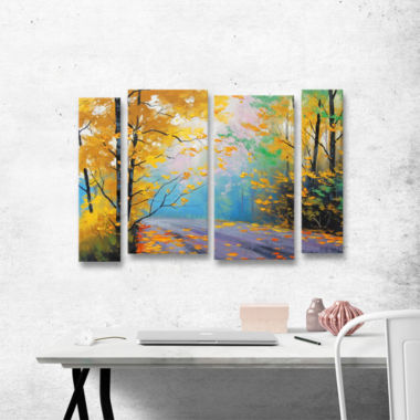 Brushstone Misty Autumn Day 4-pc. Gallery WrappedStaggered Canvas Wall Art