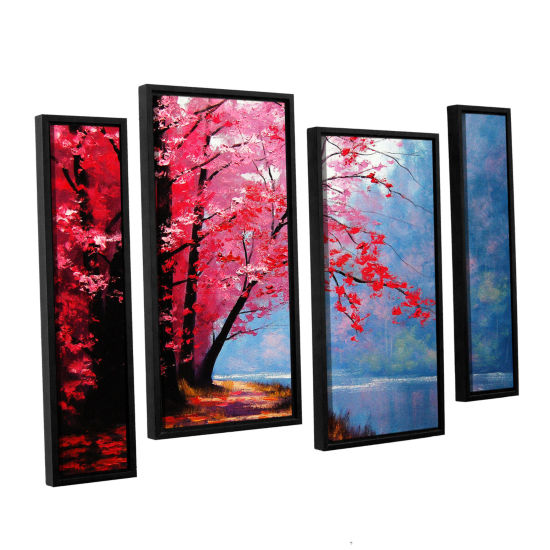 Brushstone River Bend 4-pc. Floater Framed Staggered Canvas Wall Art