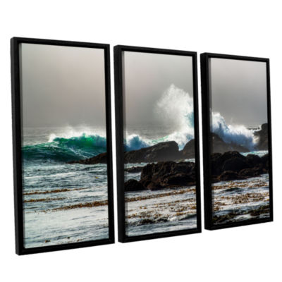 Brushstone The Wave Long Beach 3-pc. Floater Framed Canvas Wall Art