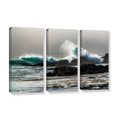 Brushstone The Wave Long Beach 3-pc. Gallery Wrapped Canvas Wall Art