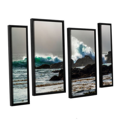 Brushstone The Wave Long Beach 4-pc. Floater Framed Staggered Canvas Wall Art