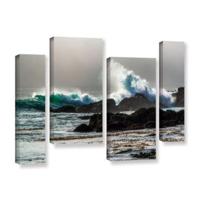 Brushstone The Wave Long Beach 4-pc. Gallery Wrapped Staggered Canvas Wall Art