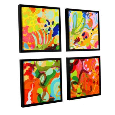Brushstone Skylark 4-pc. Square Floater Framed Canvas Wall Art
