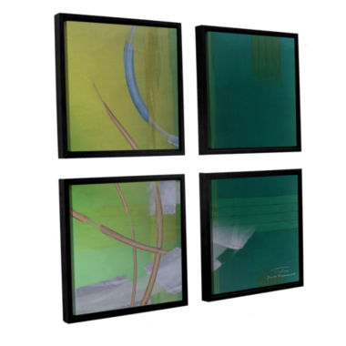 Brushstone Abstract 03 I 4-pc. Square Floater Framed Canvas Wall Art