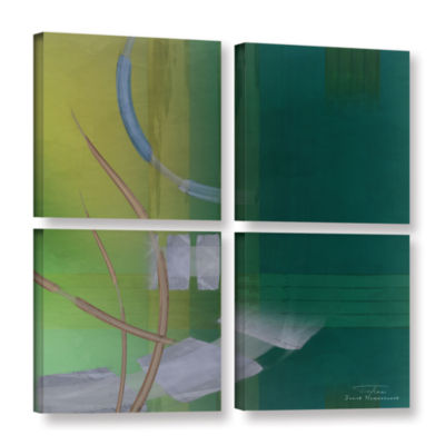 Brushstone Abstract 03 I 4-pc. Square Gallery Wrapped Canvas Wall Art
