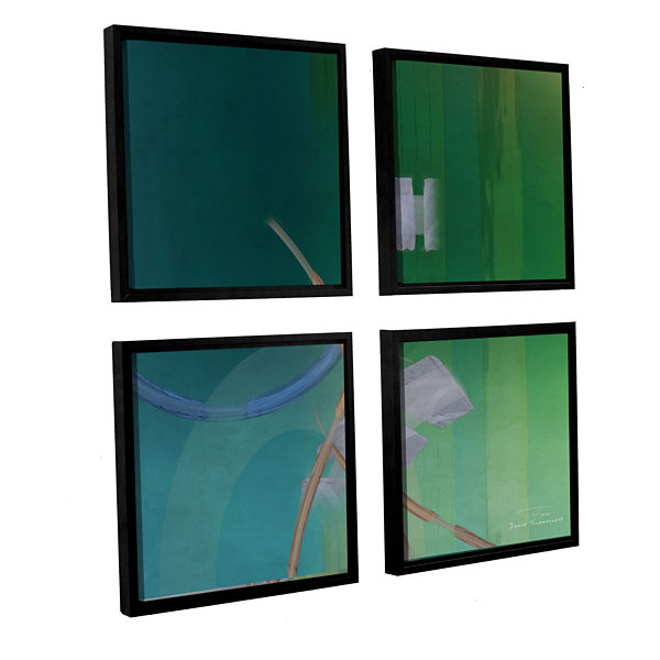 Brushstone Abstract 03 II 4-pc. Square Floater Framed Canvas Wall Art