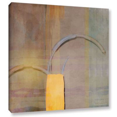 Brushstone Abstract Right Bow On Grey Gallery Wrapped Canvas Wall Art