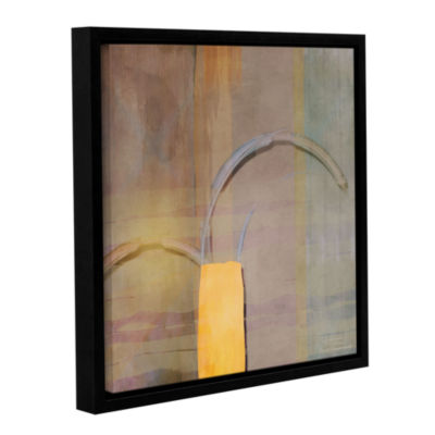 Brushstone Abstract Right Bow On Grey Gallery Wrapped Floater-Framed Canvas Wall Art