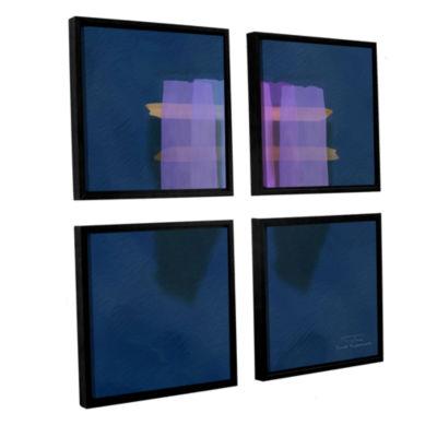 Brushstone Abstract Soft Blocks 01 I 4-pc. SquareFloater Framed Canvas Wall Art