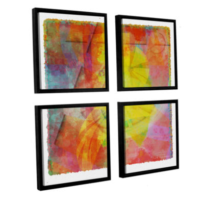 Brushstone Abstract Soft Smooth 2 4-pc. Square Floater Framed Canvas Wall Art