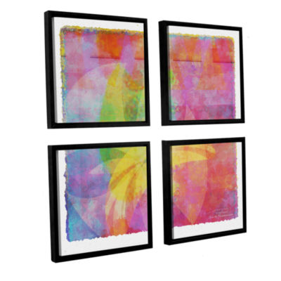 Brushstone Abstract Soft Smooth 3 4-pc. Square Floater Framed Canvas Wall Art