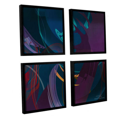 Brushstone Abstract Twirl 01 4-pc. Square FloaterFramed Canvas Wall Art
