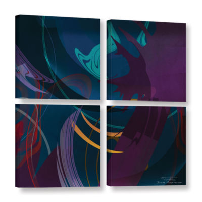 Brushstone Abstract Twirl 01 4-pc. Square GalleryWrapped Canvas Wall Art