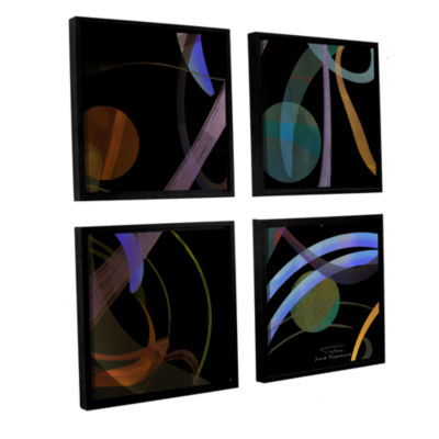 Brushstone Abstract Twirl 02 4-pc. Square FloaterFramed Canvas Wall Art