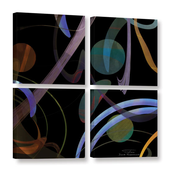 Brushstone Abstract Twirl 02 4-pc. Square GalleryWrapped Canvas Wall Art