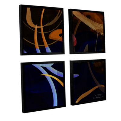 Brushstone Abstract Twirl 03 4-pc. Square FloaterFramed Canvas Wall Art