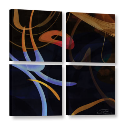 Brushstone Abstract Twirl 03 4-pc. Square GalleryWrapped Canvas Wall Art