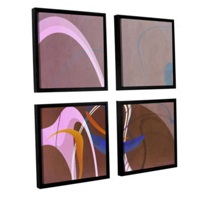 Brushstone Abstract Twirl 06 4-pc. Square FloaterFramed Canvas Wall Art