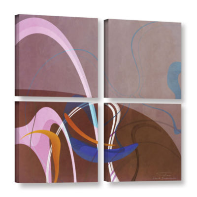 Brushstone Abstract Twirl 06 4-pc. Square GalleryWrapped Canvas Wall Art