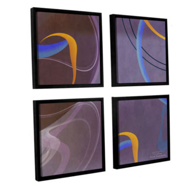 Brushstone Abstract Twirl 07 4-pc. Square FloaterFramed Canvas Wall Art