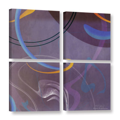 Brushstone Abstract Twirl 07 II 4-pc. Square Gallery Wrapped Canvas Wall Art