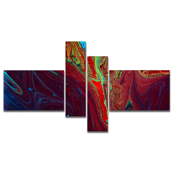Designart Dark Red Abstract Acrylic Paint Mix Multipanel Abstract Art On Canvas - 4 Panels