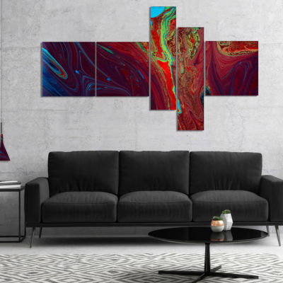 Designart Dark Red Abstract Acrylic Paint Mix Multipanel Abstract Art On Canvas - 5 Panels