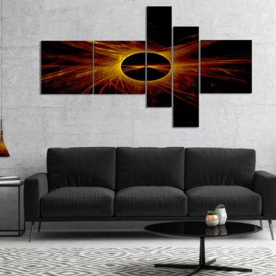 Designart Dark Solar Eclipse On Black Multipanel Abstract Art On Canvas - 4 Panels