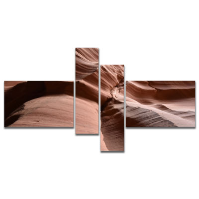 Designart Dark Upper Antelope Canyon Multipanel Landscape Photography Canvas Print - 4 Panels