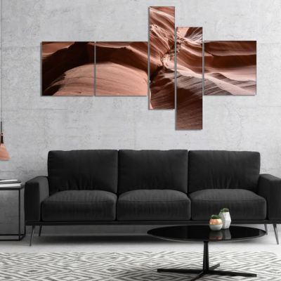 Designart Dark Upper Antelope Canyon Multipanel Landscape Photography Canvas Print - 5 Panels