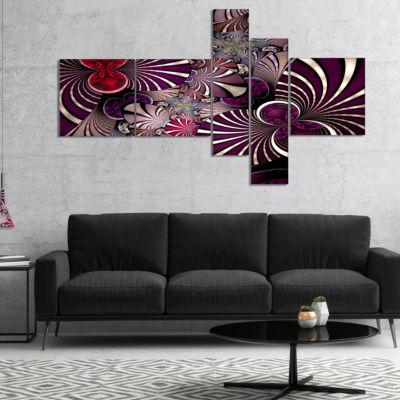 Designart Dark Violet Fractal Flower Multipanel Abstract Wall Art Canvas - 4 Panels